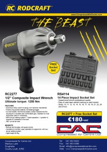 """rodcraft 1/2"""" impact wrench """"the beast""""1250 torque"""